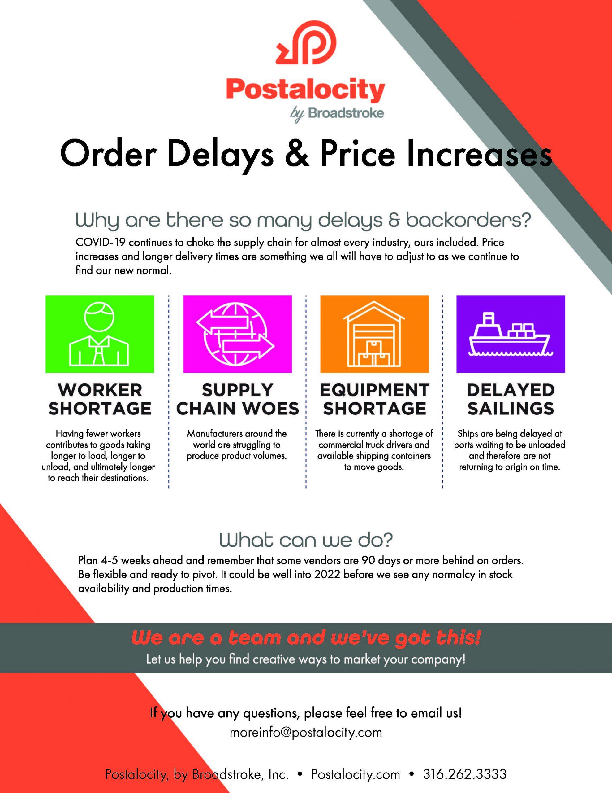 Order delays & Price Increases